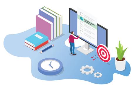 examen en ligne 3d isométrique ou concept de cours avec des livres et des examens informatiques avec icône de temps - illustration vectorielle Vecteurs