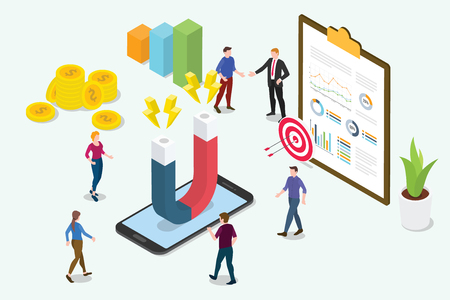 isometric 3d customer retention marketing concept with team people and magnet with graph chart - vector illustration