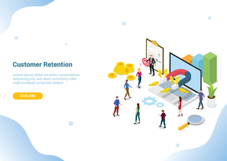 isometric 3d customer retention marketing concept for website template landing homepage banner - vector illustration Ilustração