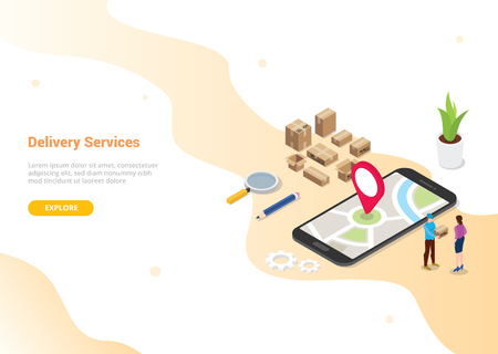 isometric 3d online delivery service concept with people deliver order for website template design or landing homepage - vector illustration