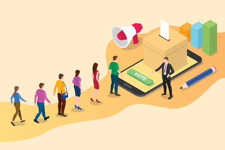 isometric 3d online vote concept with people queued up in line with smartphone voting and box votes - vector illustration Vector Illustratie