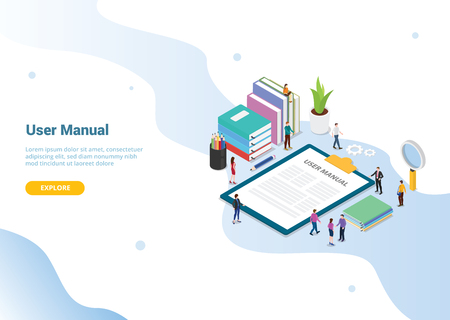 user manual book concept with people and some guide on the clipboard for website template design or landing homepage - vector illustration
