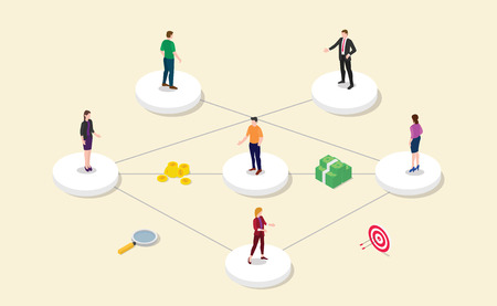 referral affiliate partnership program with team people connect or relation and business icon with modern flat style - vector illustration