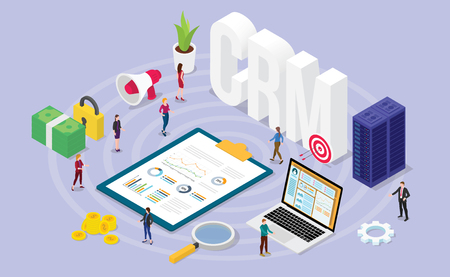 crm customer relationship manager concept with team people and financial admin data with isometric modern flat style - vector illustration