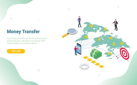 money transfer concept with people sending money around world destination global for website template or landing homepage - vector illustration