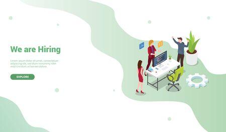 hire programmer poster or banner template for website design homepage or landing - vector illustration
