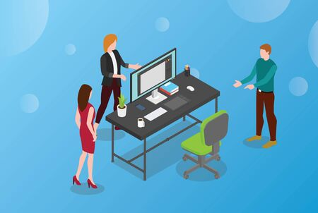 hire or hiring designer or graphic design concept with empty desk and chair with monitor modern isometric design - vector illustration