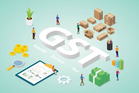 gst goods service tax with big words and people team business with modern isometric flat - vector illustration