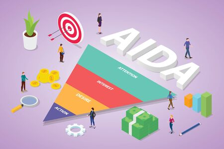 aida acronym of attention interest desire action business word with team people business with isometric modern flat style - vector illustration