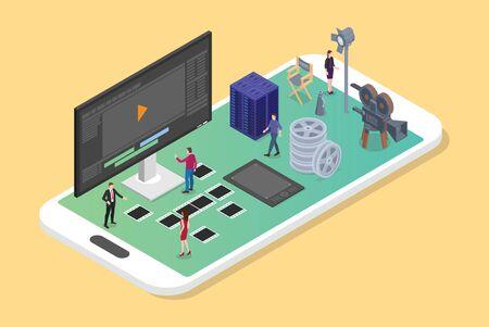 montage et production vidéo mobile sur le smartphone avec divers ensembles de productions de films avec un style plat isométrique moderne - illustration vectorielle
