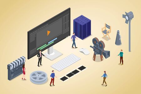 video editing production concept with team people and editor with modern isometric flat style - vector illustration Vektorgrafik