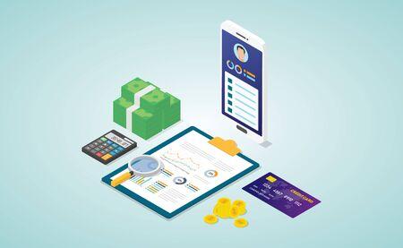 Persönliches Finanzkonzept mit Biodaten-Profilanalysebericht mit einigen Finanzdaten im modernen isometrischen flachen Stil - Vektorillustration