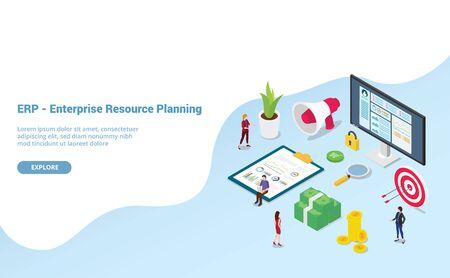concepto de planificación de recursos empresariales de erp con personas del equipo y empresa de activos con un estilo isométrico moderno para la plantilla de sitio web o la página de inicio de aterrizaje - ilustración vectorial