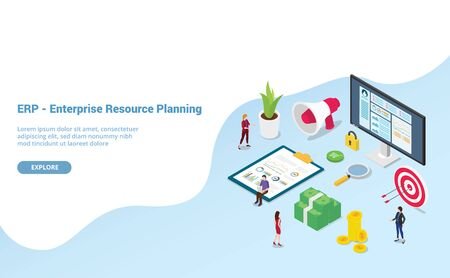 erp enterprise resource planning concept with team people and asset company with modern isometric style for website template or landing homepage - vector illustration