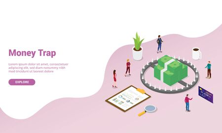 money trap business concept with team people business modern isometric style for website template or landing homepage - vector illustration