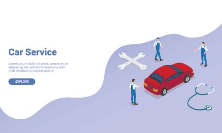 car service concept with team engineer technician mechanic with car and money with isometric modern flat style for website template landing homepage - vector illustration Vektorgrafik