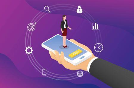 concetto di consultazione aziendale online su smartphone con icona e stile piatto moderno isometrico - illustrazione vettoriale Vettoriali