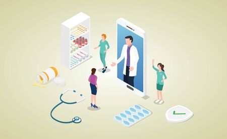 online doctor consultation concept with smartphone apps and patient and doctor discussion with modern isometric style - vector illustration Çizim