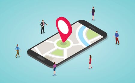 gps navigation concept with people and smartphone and maps and marker with modern isometric flat style - vector illustration Ilustrace
