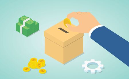 donation concept with hand give money to donate with money and donations box with isometric modern flat style - vector illustration