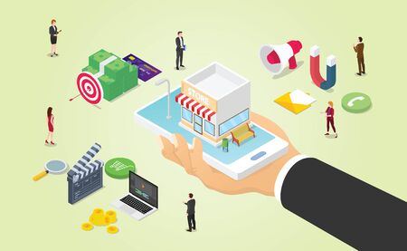 omnichannel business marketing with various media like video money budget and team people work with modern isometric style - vector illustration