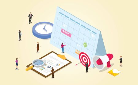 work schedule for project management office with employee target time clock with modern isometric style - vector illustration