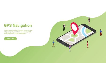 gps navigation technology concept isometric for website template or landing homepage banner - vector illustration