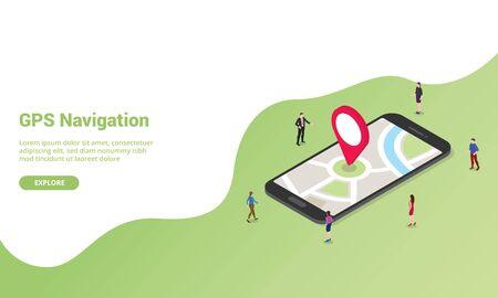 GPS-Navigationstechnologiekonzept isometrisch für Website-Vorlage oder Landing-Homepage-Banner - Vektorillustration