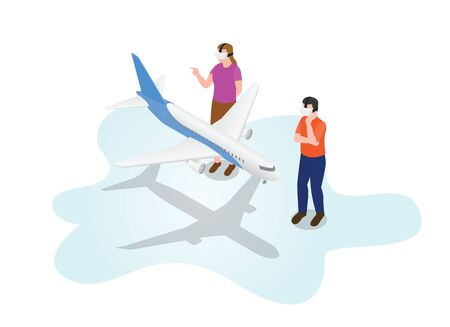 ar augmented reality 3d modelling with big aeroplane plane air transportation with modern isometric style vector