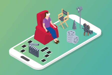 vr virtual reality movies concept with woman sit on chair and movie icon with modern isometric style vector