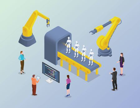 robot massive development with developer people in factory with modern isometric style vector 向量圖像