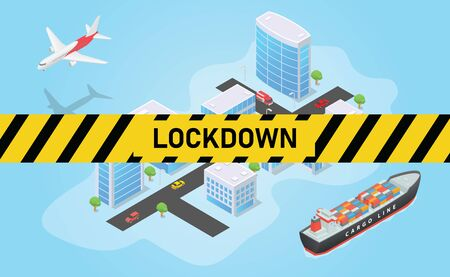 city lockdown for corona virus covid-19 with people and shutdown public transportation with modern isometric style vector