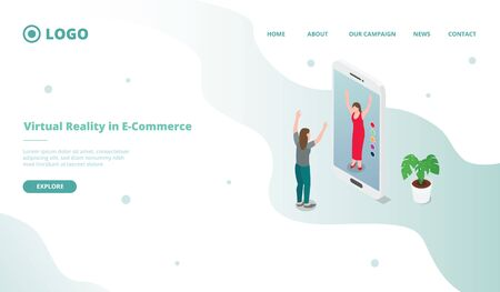 vr virtual relity for ecommerce shopping for website template or landing homepage with isometric style vector 向量圖像