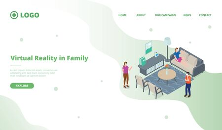 vr virtual reality family playing for website template or landing homepage with isometric style vector 向量圖像
