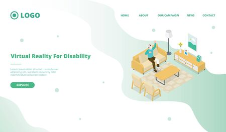 vr virtual reality for disability people for website template or landing homepage with isometric style vector 向量圖像