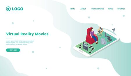 vr virtual reality for movies industry for website template or landing homepage with isometric style vector