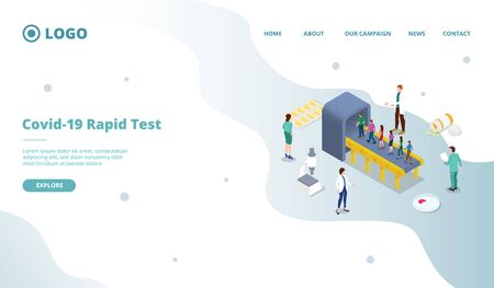 corona virus covid-19 rapid test or screening mass for website template or landing homepage with isometric style vector 向量圖像