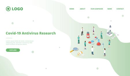 corona virus covid-19 antivirus vaccine research development for website template or landing homepage with isometric style vector