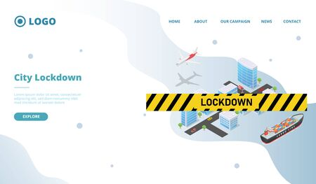city lockdown for corona virus covid-19 for website template or landing homepage with isometric style vector 向量圖像
