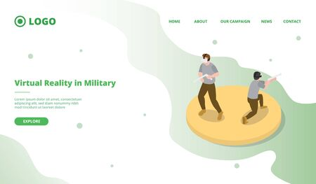 vr or ar for millitary simulation for website template or landing homepage with isometric style vector