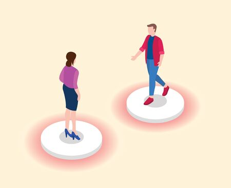social distancing or physical distance concept with two people keep distance from each other vector
