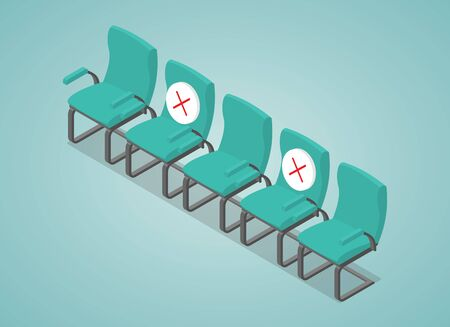 social distancing concept illustration with chair space between with modern isometric style vector 向量圖像