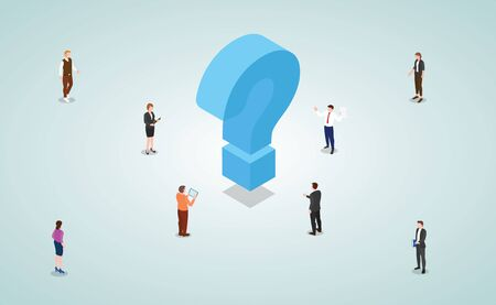 team of business people male and female work to solve problems and find solutions with modern isometric style vector 向量圖像