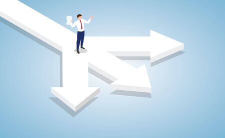 businessman standing at the cross roads of business decision with modern isometric style vector 向量圖像