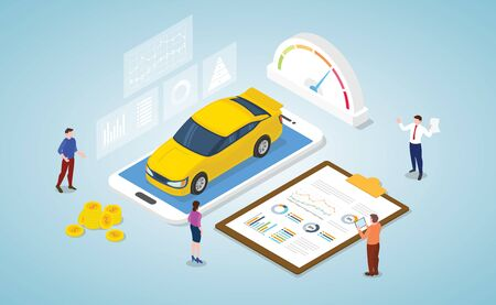 car market analysis concept with some graph and chart data report with modern isometric style vector