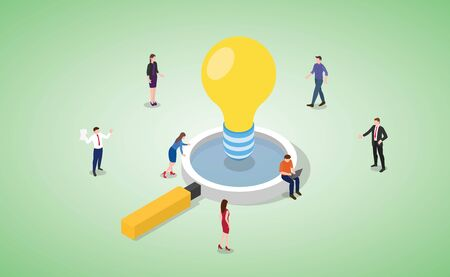 idea analysis with big lamp and team people work discuss with magnifying zoom tools vector