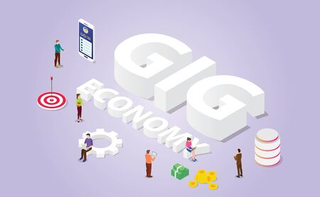 gig economy concept for professional freelancer with people and modern isometric style vector Vector Illustratie
