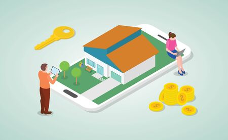 mobile online real estate listing to buy and search concept with people and modern isometric style - vector vector 向量圖像