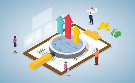 business data analysis with team and people working together on paper work data with modern isometric style vector