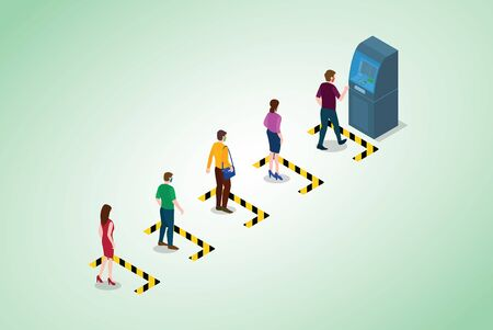 social distancing or physical distancing concept with people queue in line of atm machine with modern isometric style vector 向量圖像